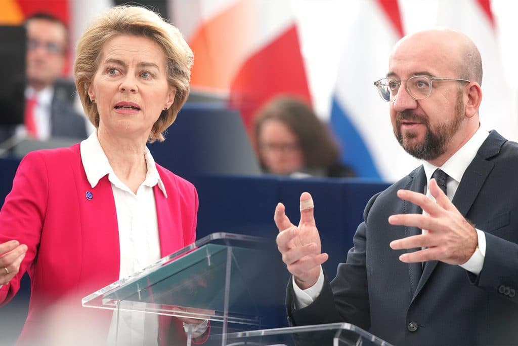 Presidents Michel and von der Leyen during the debate on the conclusions of the 12-13 December European Council summit
